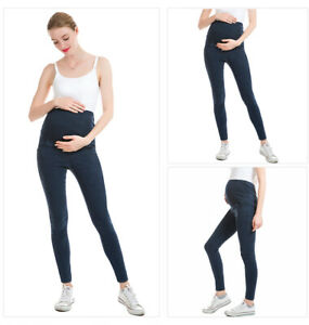Ladies Skinny Over Bump Jeans Jeggings Maternity Stretchy Pregnancy Pants Cotton