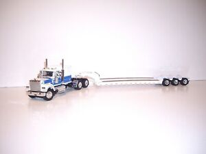 DCP FIRST GEAR 1/64 WHITE AND BLUE MACK SUPER LINER WITH SLEEPER & WHITE LOWBOY