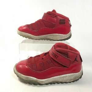 Nike Air Jordan 11 Retro Sneakers Toddler 9C Red Leather Baby Shoes 378040-623