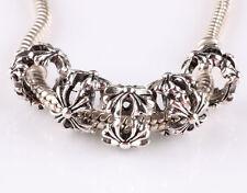 hot 5pcs retro Tibetan silver big hole beads fit Charm European Bracelet #E617