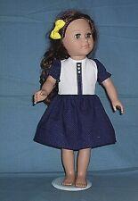 """Navy & White Polka Dot 18"""" Doll  Dress  ~ Handmade in America"""