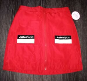 Girls justice zip sport skirt w/built in shorts size 8 new red
