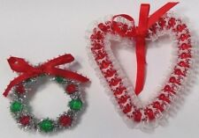 lot of 2 handmade holiday pins beaded tinsel Christmas wreath red lace heart