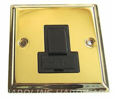 VICTORIAN BRASS SWITCHED FUSE SPUR POLISHED BRASS [ GOLD ] BLACK INSERTS