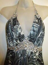 Sky Clothing Brand XS Mini Dress Peacock Print Gray White Rhinestone Crystal