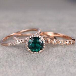 2.80Ct Round Cut Green Emerald Diamond Trio Engagement Ring 14K Rose Gold S 6-10