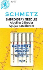 Schmetz Embroidery Sewing Machine Needles Size 11/75~Part # 1745~Free Shipping!