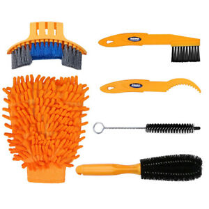 6PCS Cycling Bike Bicycle Chain Wheel Wash Cleaner Cleaning Brushes Scrubber Set