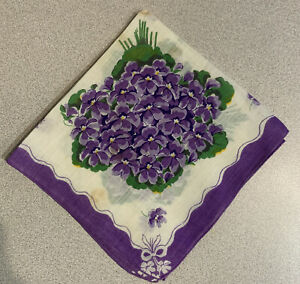 White Cotton Printed Handkerchief Lavender Flowers Printed Scalloped Edge