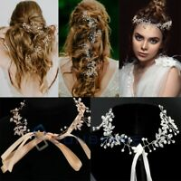 Pearl Flower Crystal Rhinestone Wedding Bridal Headband Clip Hair Band Tiara