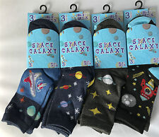 12 Pairs Kids Boys Cotton Socks School Summer Trainer Ankle Socks Sea Life Space 6-8 B10731