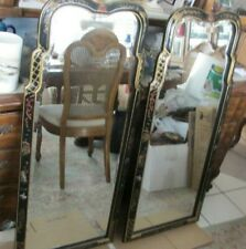 Pair Henredon Chinoiserie Chippendale Beveled Glass Mirror Looking Glasses