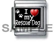 I HEART LOVE MY RESCUE DOG 9MM ITALIAN CHARM LINK puppy pound pet save a life