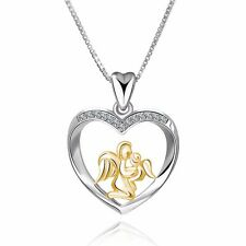 Gold Angel Mother Dangle Silver Charms Pendant Fit 925 Sterling Necklace Jewelry