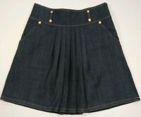 Lillie Rubin Womens 12 Dark Wash A-Line Basic Denim Pleated Skirt Pockets $128*