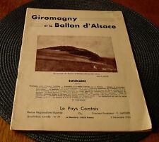 LE PAYS COMTOIS N° 77 de décembre 1935 : GIROMAGNY ET LE BALLON D'ALSACE