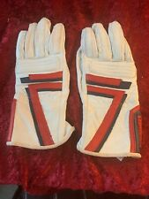 FIELDSHEER Leather Red White And Blue Motor Cycle Gloves ,Size 7 XS