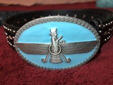 Iran iranian persian Farvahar belt buckle wing man pahlavi silver turquoise 3D -