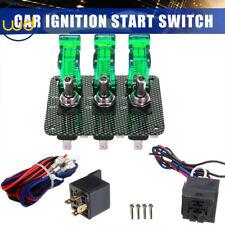 3 Led Lights Toggle Switch Panel Carbon Fiber for Race Car Engine Start Ignition