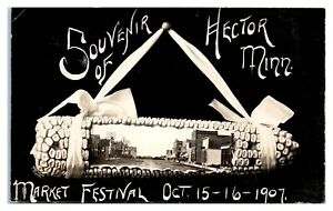1907 RPPC Souvenir of Hector, MN Market Festival, Street View Postcard *5S2