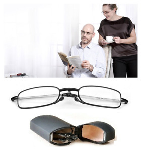 Mens / Ladies Folding Reading Glasses in Black: Fold-Out Specs in Travel Case