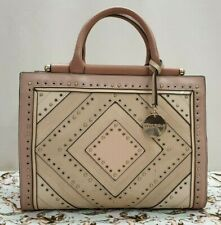 GENUINE ladies womens pink cream studded tote handbag bag