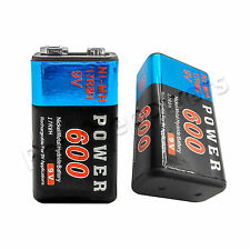 2pcs Power 9V 600mAh Rechargeable Ni-MH NiMH Standard Battery 17R8H