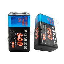 2pcs Power 9V 600mAh Rechargeable Ni-MH NiMH Standard Battery 17R8H