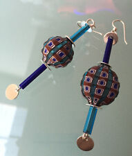 Venetian glass bead earrings, vintage and modern, set with sterling silver
