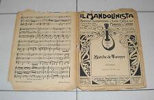 Spartito IL MANDOLINISTA 1904 MARCHE DE TURENNE Lulli mandolino chitarra Liberty