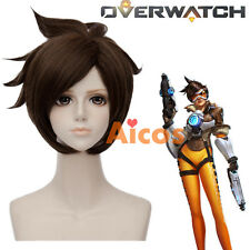 Overwatch OW Tracer Short 30CM Brown Layered Cosplay Anime Cosplay Wig + Wig Cap