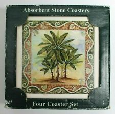 Absorbent Coasters Stone Art Palm Tree Set of 4  Made In USA
