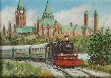 Wakefield Train Ottawa Parliament Buildings Rina Bryce Oil on Masonite Painting
