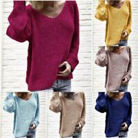 Sweater Pullover V Neck Knitwear Knitted Long Tops Jumper Loose Women's Sleeve