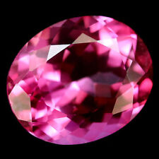 RARE 15.5x12mm OVAL-FACET ENHANCED HOT-PINK NATURAL BRAZILIAN TOPAZ (APP £1,343)