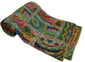 Patchwork Kantha Bedspread Indian Handmade Quilt Throw Cotton Blanket