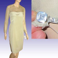 PAMELA DENNIS $1000 SUEDED SILK & CHIFFON Dress 8 Pale Green w CRYSTAL Detail 8