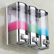 Chrome Wall Mounted Soap Dispenser Shampoo Shower Dispenser Dishes Bathroom