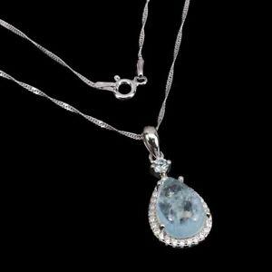 Unheated Pear Aquamarine 13x9mm Sky Blue Topaz Cz 925 Sterling Silver Necklace