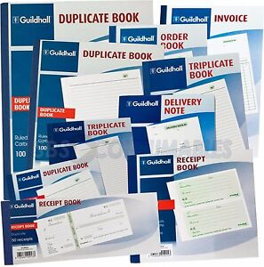 Guildhall Duplicate Triplicate NCR Books. Invoice, Order, Delivery Note, Receipt