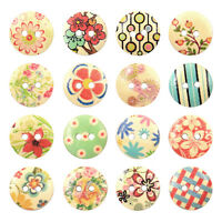 EG_ 100 Pcs Mixed 2 Holes White Round Pattern Wood Buttons Sewing Scrapbooking 1