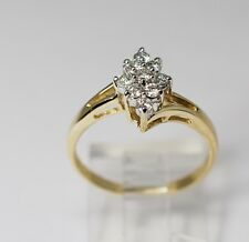 Round Brilliant Diamond Cluster Ring 14k Yellow Gold Cute Sparkling .30ctw