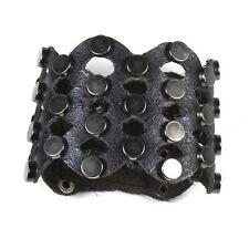"Leather Rivets Bracelet Unisex Black Leather Leather Rivets Bracelet 2.25"" W"