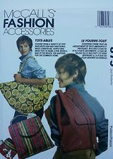 "1993 UNCUT! McCALL'S FASHION ACCESSORIES ""10 DIFFERENT TOTE-ABLES"","