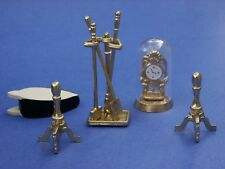 Miniature Dollhouse Fireplace Accessories With Clock 8 Pieces 1:12 Scale New