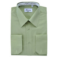 Berlioni Italy Men's Convertible Cuff Solid Italian French Dress Shirt Sage