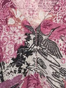 Vintage Lucky Brand sz M Asian Crane Motif Gray and Pink Cardigan Sweater Top