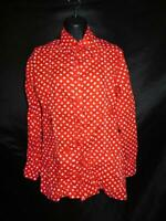 Vintage 70s Lady Manhattan S Red White Polka Dot Shirt Long Sleeve Patch Pockets