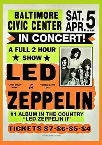 Led Zeppelin Concert Poster Wall Art Baltimore Unframed Vintage Rock Picture