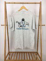 VTG 90s Triangle Blues Society NC Heather Gray Short Sleeve Pocket T-Shirt Sz XL
